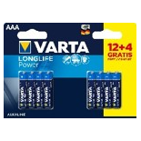 12+ 4 (gratuites) piles LR03/ LR3 AAA VARTA LONG LIFE POWER