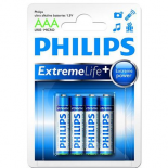 4 piles LR03 / LR3 AAA PHILIPS EXTREME LIFE alcalines sous blister