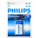 Pile 6LR61 9V PHILIPS EXTREME LIFE alcaline sous blister