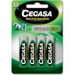 4 piles rechargeables accu Cegasa AA LR6 1.2V 2700mAH