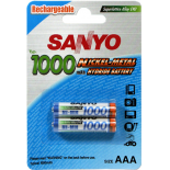 2 piles rechargeables accu Panasonic AAA LR03 1.2V 1000mAH