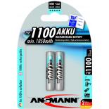 2 piles rechargeables accu ANSMANN AAA LR03 1.2V 1100mAH