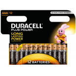 12 piles LR03 AAA Duracell Plus Power sous blister
