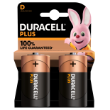 2 piles LR20 D Duracell Plus sous blister