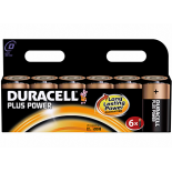 6 piles LR20 C Duracell Plus Power sous blister
