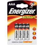 4 piles LR03 / LR3 AAA ENERGIZER ULTRA+ alcalines sous blister