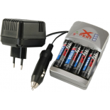 Chargeur de piles rechargeables Global line + 4 R6 AA NI-MH 2700mAH