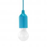 Lampe E27 à Led PULL-LIGHT LP1W Bleu avec interrupteur pour éclairage autonome + 3 piles AAA