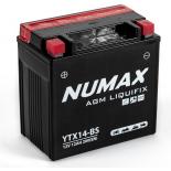Batterie moto Numax Premium AGM avec pack acide  YTX14-BS 12V 12Ah 200A