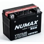 Batterie moto Numax Premium AGM avec pack acide  YTX15L-BS 12V 13Ah 230A