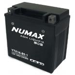 Batterie moto Numax Premium AGM avec pack acide  YTX16-BS-1 12V 14Ah 230A