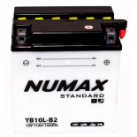 Batterie moto Numax Standard avec pack acide  YB10L-B2 12V 11Ah 120A