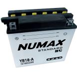 Batterie moto Numax Standard avec pack acide  YB18-A 12V 18Ah 215A