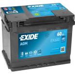 BATTERIE EXIDE AGM L2 12V 60AH 680A 242X175X190 +D EK600
