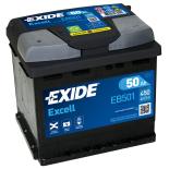 BATTERIE EXIDE EXCELL L1 12V 50AH 450A 207X175X190 +G EB501