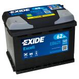 BATTERIE EXIDE EXCELL L2 12V 62AH 540A 242X175X190 +G EB621