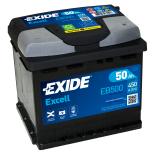 BATTERIE EXIDE EXCELL L1 12V 50AH 450A 207X175X190 +D EB500