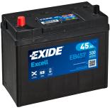 BATTERIE EXIDE EXCELL B24 12V 45AH 330A 237X127X227 +G EB457