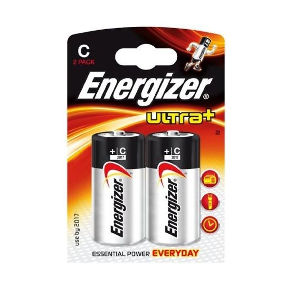 2 piles LR14 C ENERGIZER ULTRA+ alcalines sous blister
