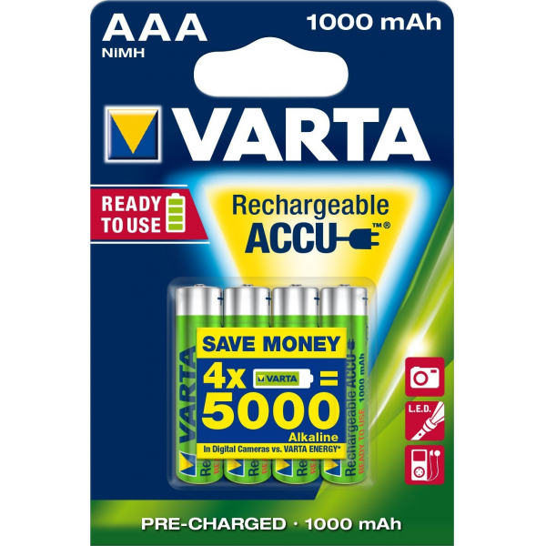 4 piles rechargeables accu VARTA AAA LR03 1.2V 1000mAh