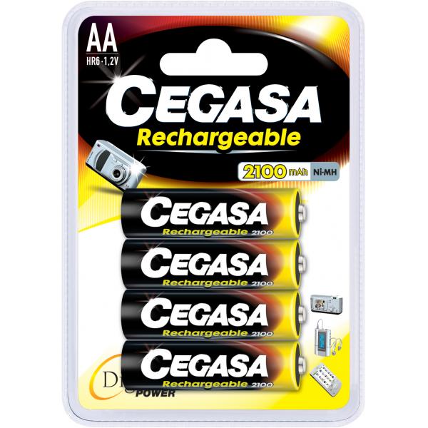 4 piles rechargeables accu AA LR6 1.2V 2100mAh