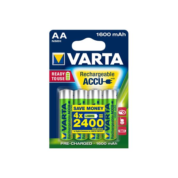 4 piles rechargeables accu VARTA AA LR6 1.2V 1600mAh
