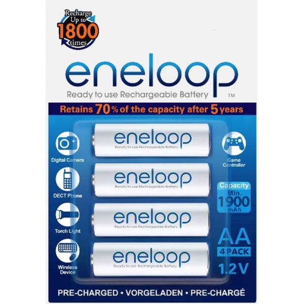 4 piles rechargeables accu PANASONIC ENELOOP LR6 AA 2000mAh