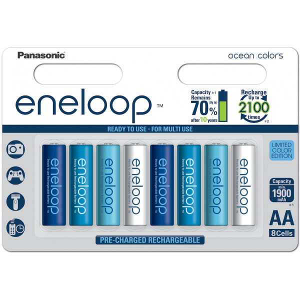 8 piles rechargeables accu PANASONIC ENELOOP LR6 AA 2000mAh