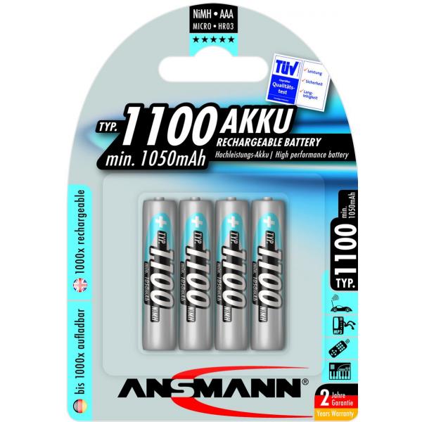 4 piles rechargeables accu ANSMANN AAA LR03 1.2V 1100mAH