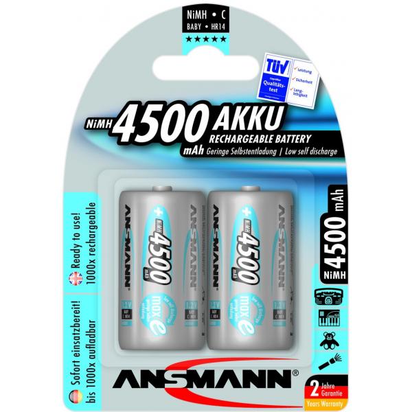 2 piles rechargeables Ansmann C LR14 1.2V 4500mAh