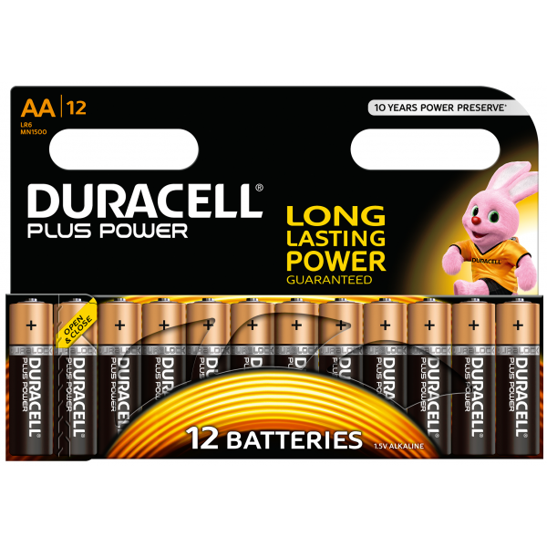 12 piles LR6 AA Duracell Plus Power sous blister