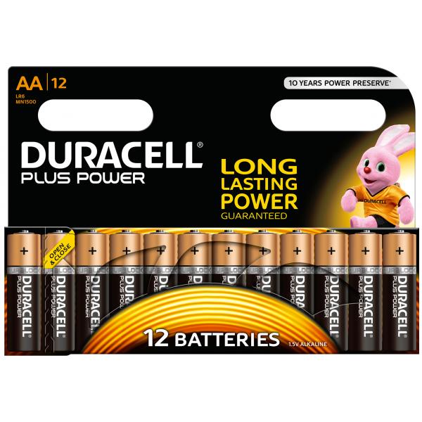 12 piles LR6 AA Duracell Plus Power sous blister