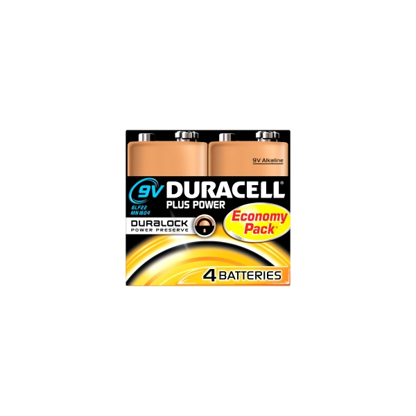 4 piles 6LR61 9V Duracell Plus Power sous blister