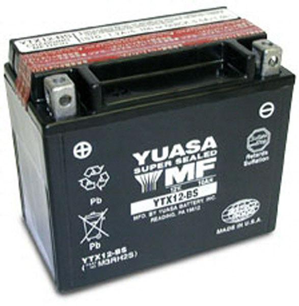 Batterie moto Yuasa YT12B-4 / YT12B-BS étanche 12V / 10Ah