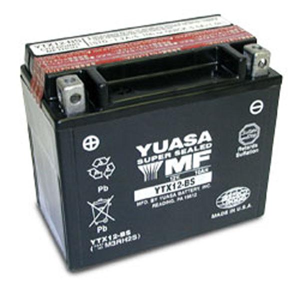 Batterie moto Yuasa YTX12-BS étanche 12V / 10Ah