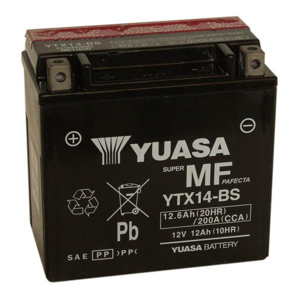 Batterie moto Yuasa YTX14-BS étanche 12V / 12Ah
