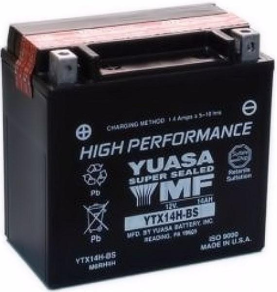 Batterie moto Yuasa YTX14H-BS étanche 12V / 12Ah