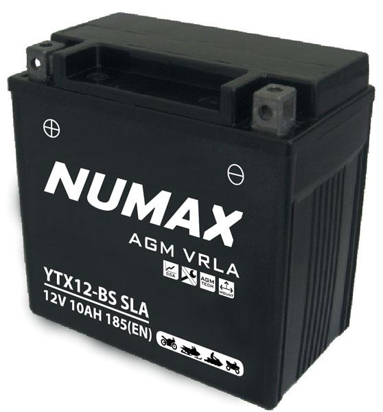 Batterie moto Numax Premium AGM  YT12BS / YTX12BS SLA 12V 10Ah 140A