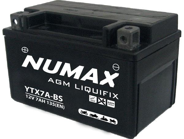 Batterie moto Numax Premium AGM avec pack acide  YTX7A-BS 12V 6Ah 105A