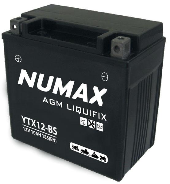 Batterie moto Numax Premium AGM avec pack acide  YTX12-BS 12V 10Ah 180A