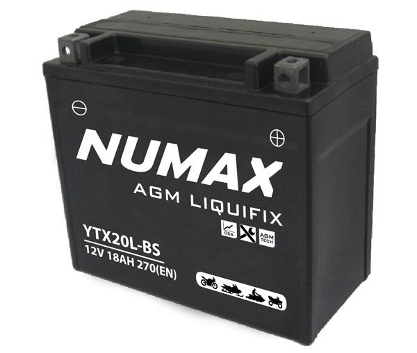 Batterie moto Numax Premium AGM avec pack acide  YTX20L-BS 12V 18Ah 270A