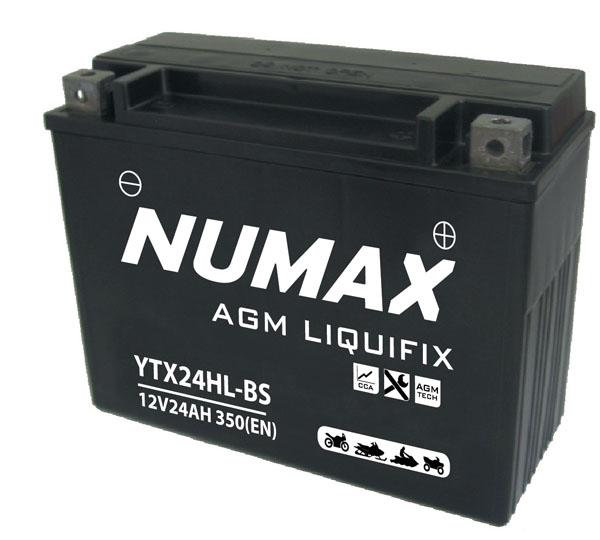 Batterie moto Numax Premium AGM avec pack acide  YTX24HL-BS 12V 24Ah 320A