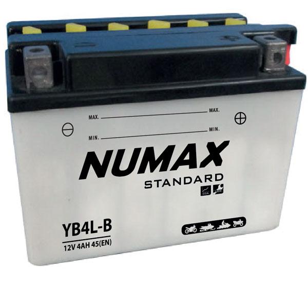 Batterie moto Numax Standard avec pack acide  YB4L-B 12V 4Ah 45A