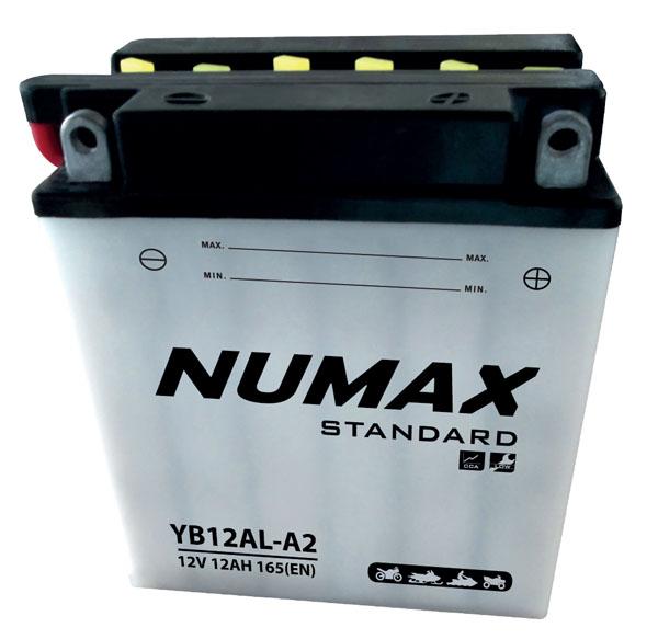 Batterie moto Numax Standard avec pack acide  YB12AL-A2 12V 12Ah 150A